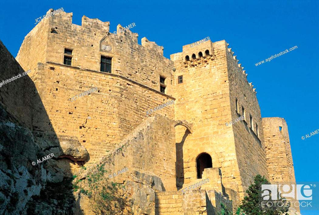 Stock Photo: Rhodes, Lindos, Fortress of the Knights.