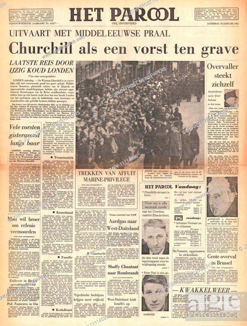 1965 Het Parool Holland Front Page Reporting The Funeral