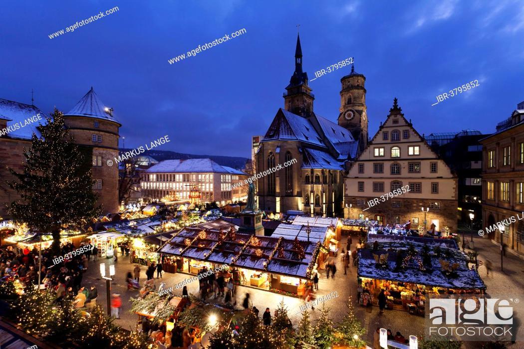 Christmas In Stuttgart Germany.Christmas Market In Front Of The Collegiate Church