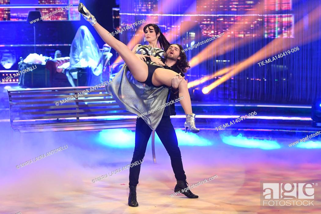 Photo de stock: Manuela Arcuri during the performance at the talent show ' Ballando con le stelle ' (Dancing with the stars) Rome, ITALY-14-04-2019.