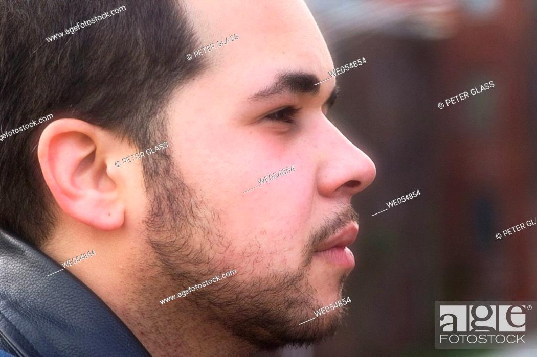 Stock Photo: Close-up of a young Hispanic man.