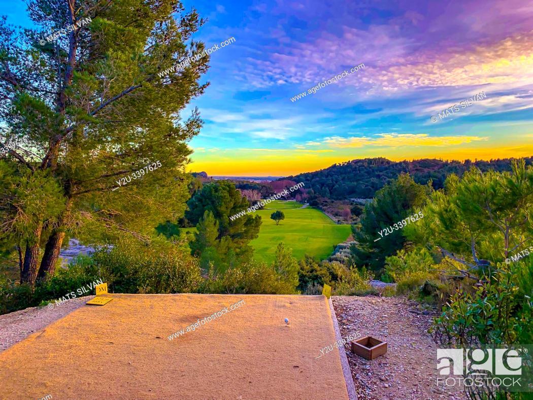 Stock Photo: Golf du Domaine de Mainville in Sunset in France.
