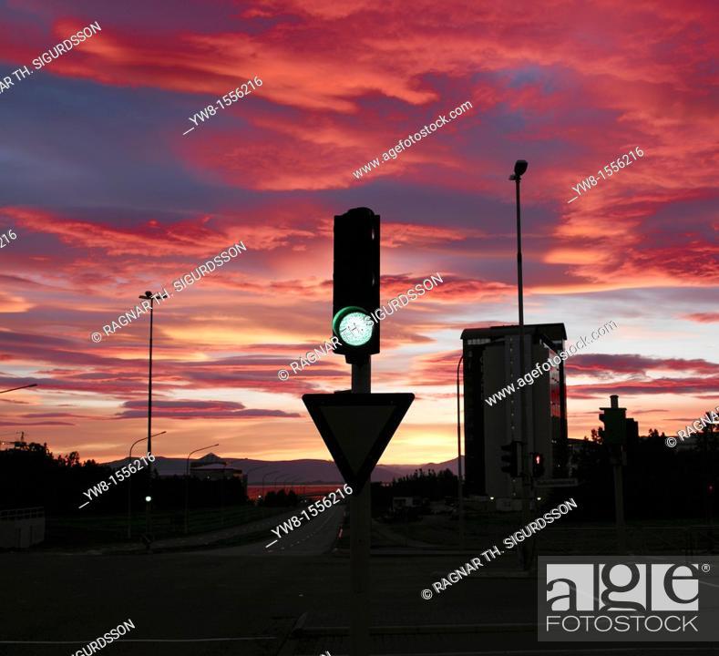 Stock Photo: Traffic light in Reykjavik, Midnight sunset, Iceland.
