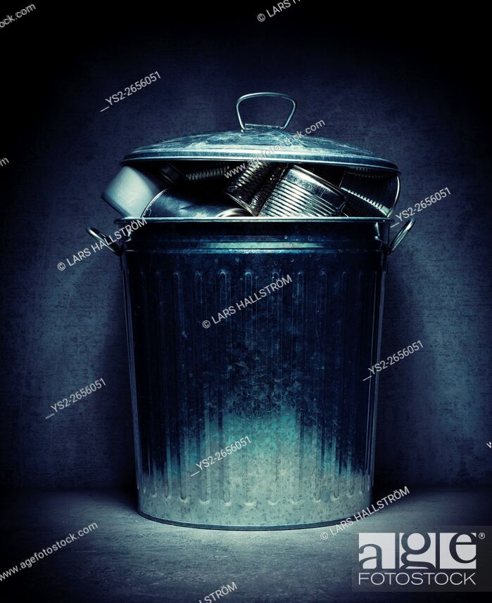 Stock Photo: Metal recycling in trash can. Environmental still life. Concept of garbage handling, eco awareness and green lifestyle.