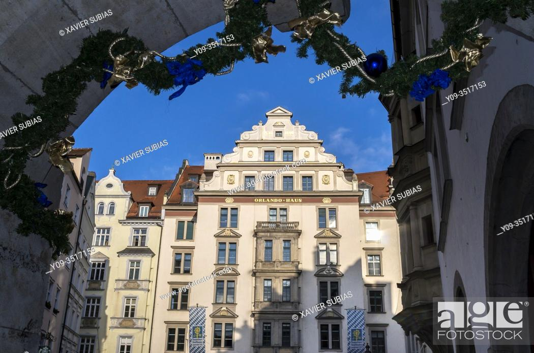 Stock Photo: Orlando Haus, Historic city center, Munich, Bavaria, Germany.