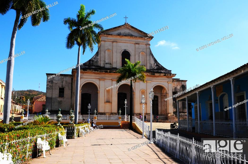 Stock Photo: Cuba: Colonial style church in Trinidad.