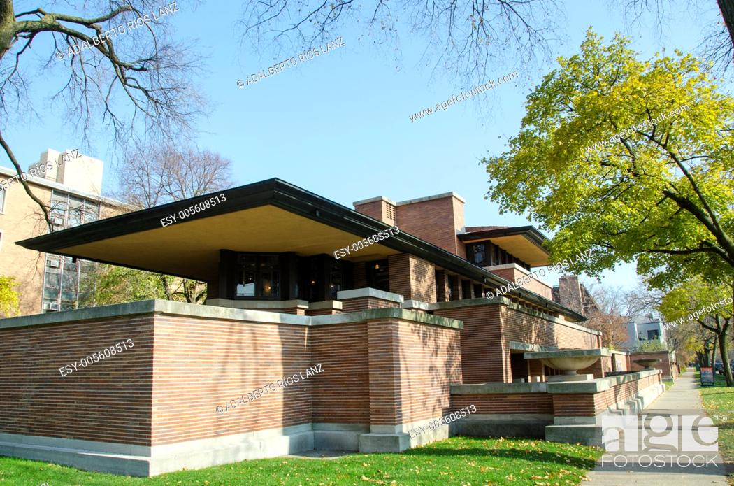 Stock Photo: The Robie House in Chicago is a residence designed by American architect Lloyd Wright Frank. It is now a museum and a registered historical site.