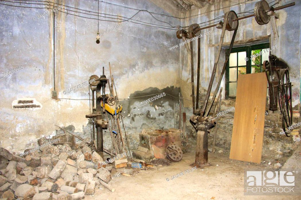 Stock Photo: Old abandoned blacksmith's shop. Huesca, Aragón, Spain.