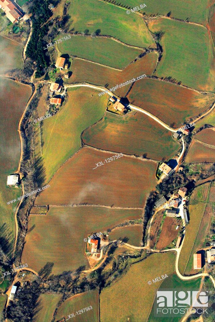 Stock Photo: Farmlands and Masias (typical Catalan farmhouses), Berga, Barcelona Province, Catalonia, Spain.
