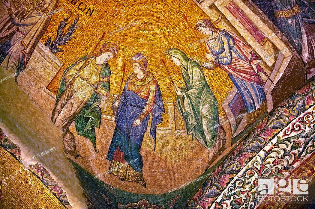Stock Photo: The 11th century Roman Byzantine Church of the Holy Saviour in Chora and its mosaic of the procession of the Virgins. Endowed between 1315-1321 by the powerful.