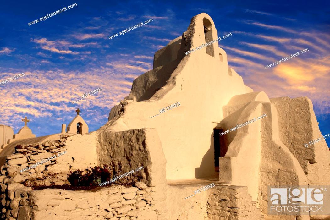 Stock Photo: Paraportiani Greek Orthodox churches of Mykanos Chora, Cyclades Islands, Greece.