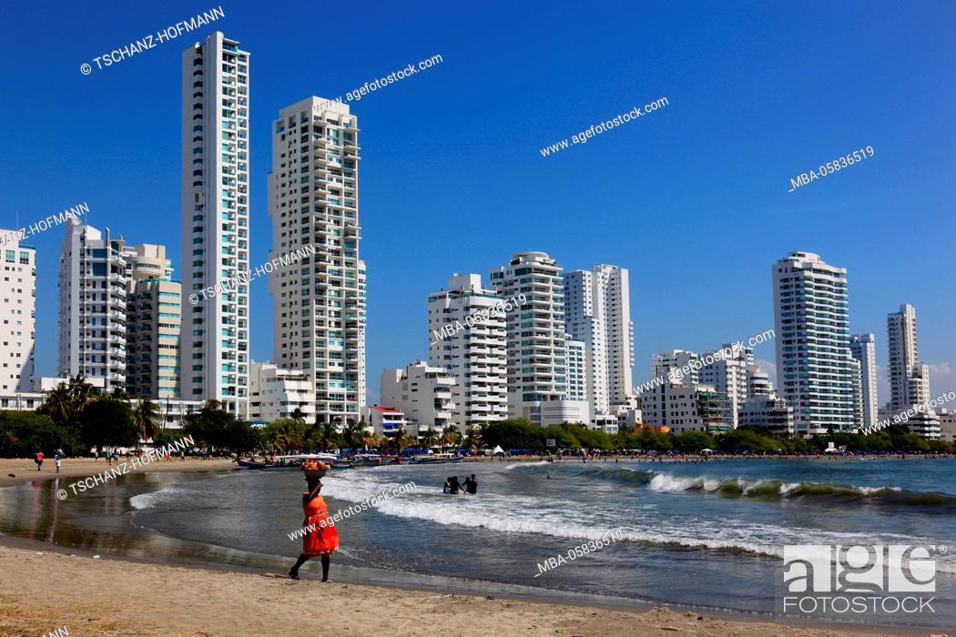 Stock Photo: Republic Colombia, Departamento Bolivar, city of Cartagena de Indias, on the beach of Bocagrande, high rises.