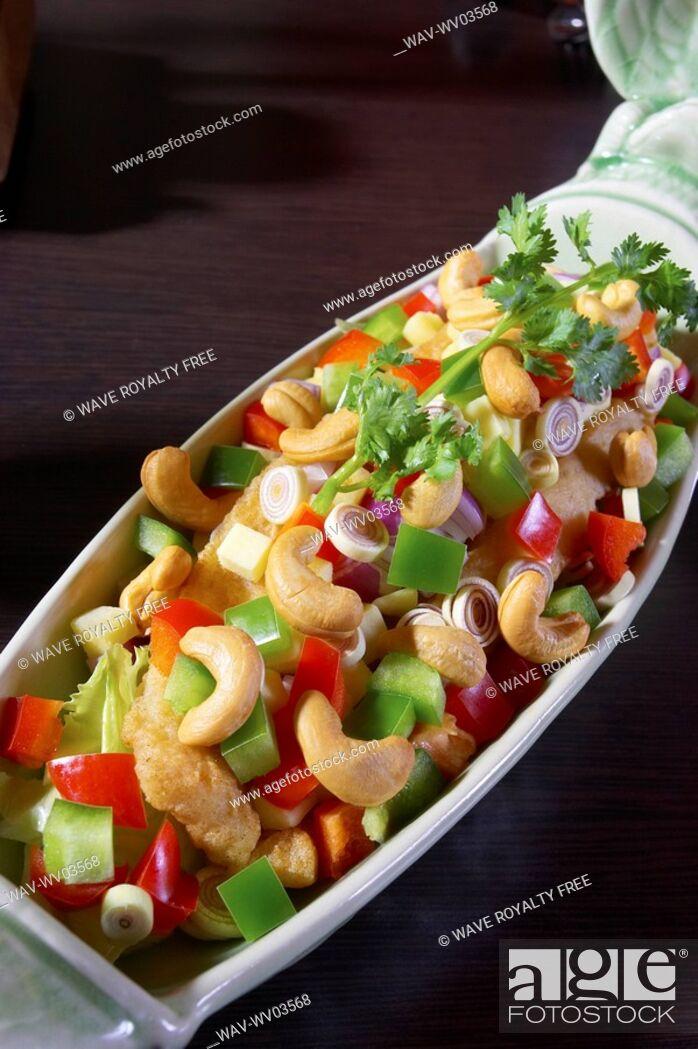 Stock Photo: Cashew chicken dish.