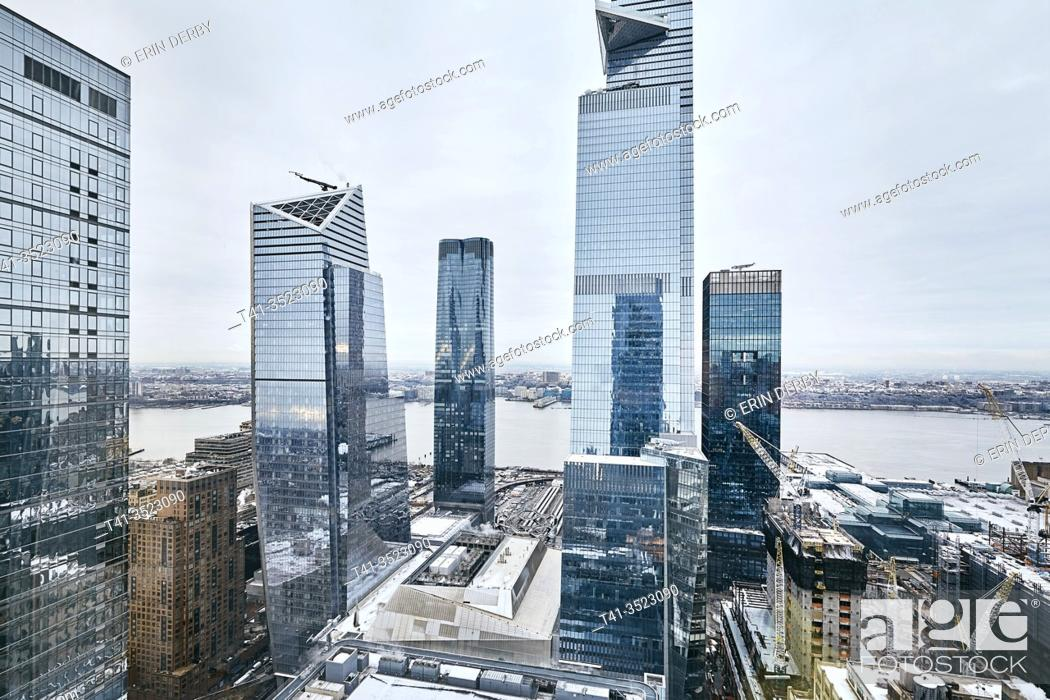 Stock Photo: A view of glossy, reflective buildings in New York City.