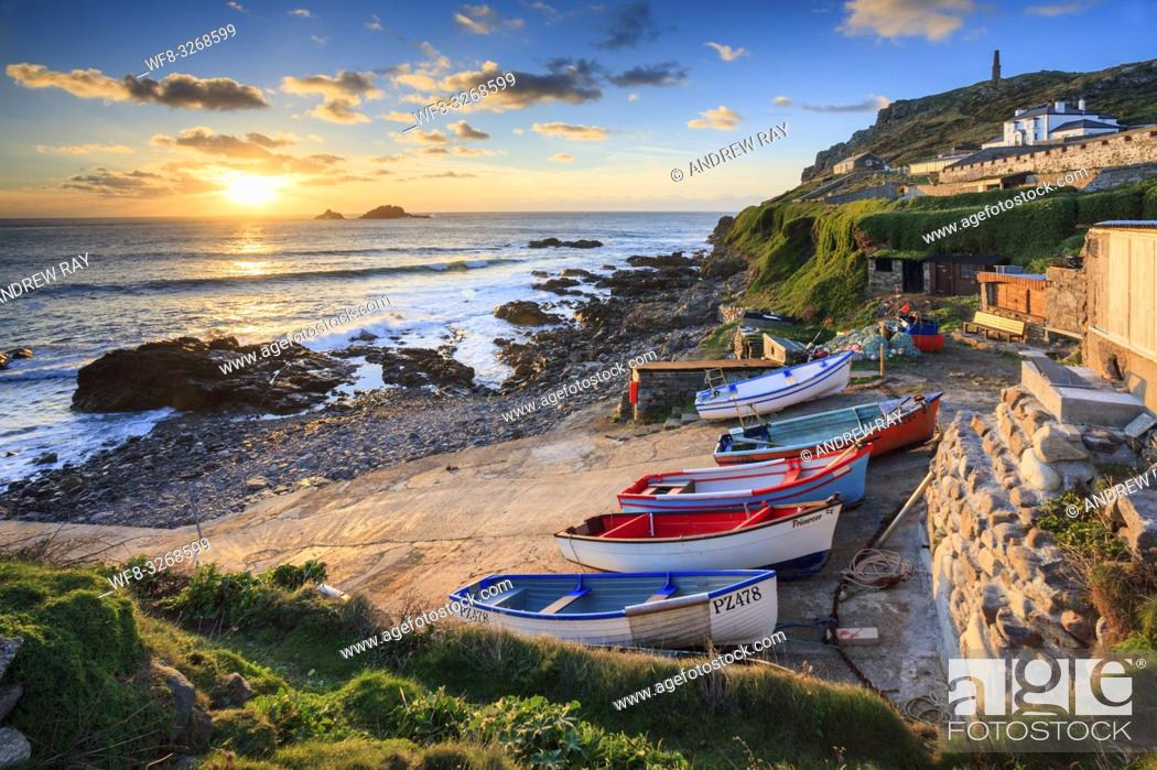 Stock Photo: Boats on the slipway at Cape Cornwall near St Just in the far west of Cornwall.