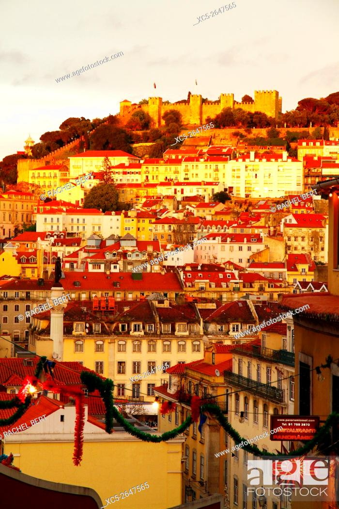 Stock Photo: View over Baixa district with Sao Jorge castle in background.Lisbon. Portugal.