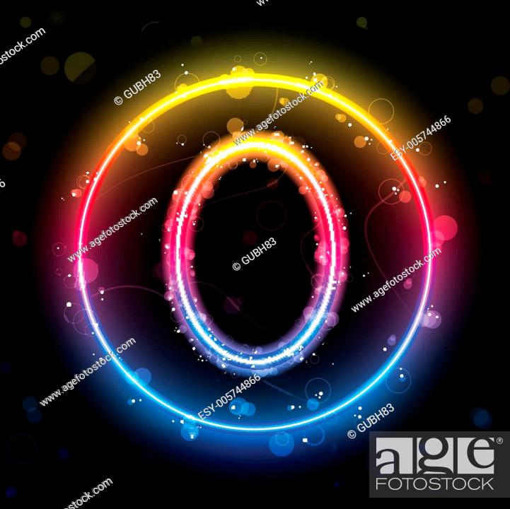Stock Vector: Number Rainbow Lights Glitter with Sparkles.