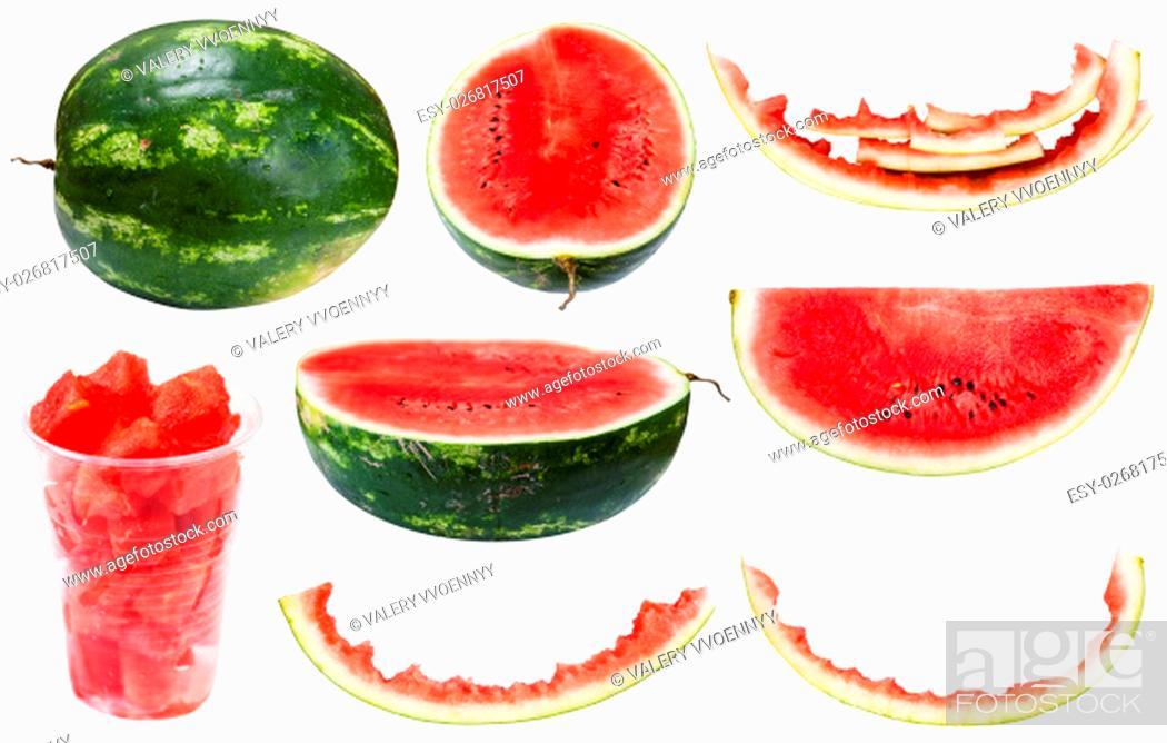 Stock Photo: collection from whole and sliced watermelons and rinds isolated on white background.