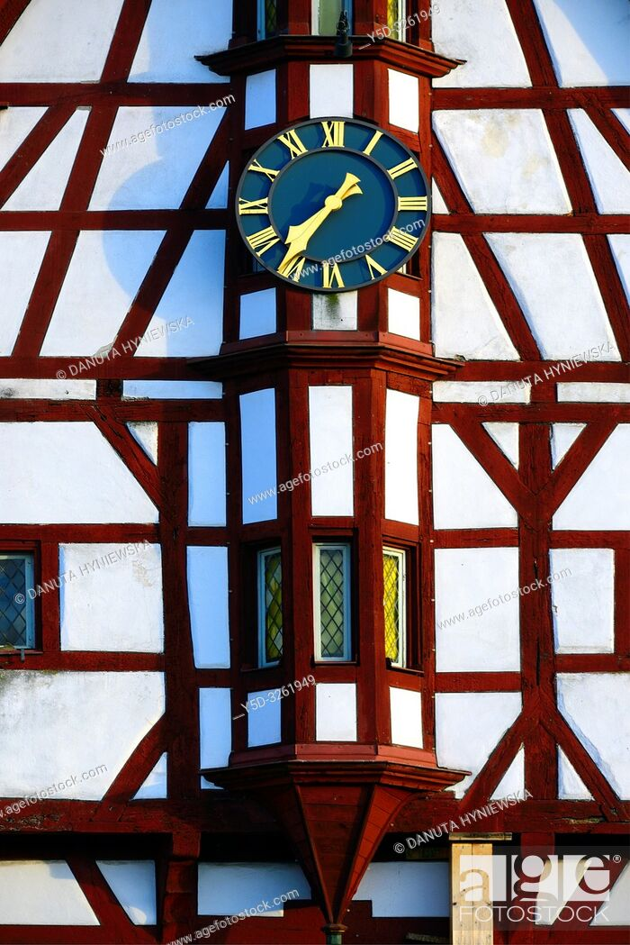 Imagen: Half-timbered building of Town Hall, close-up of tower clock, Rathausplatz - Town hall square, Forchheim, Franconian Switzerland, Upper Franconia, Franconia.