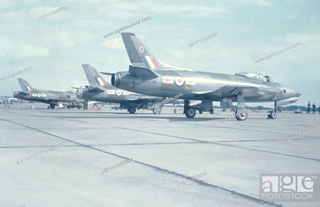 RAF 79 Squadron Supermarine Swift Fr 5S Parked In A Row Stock Photo