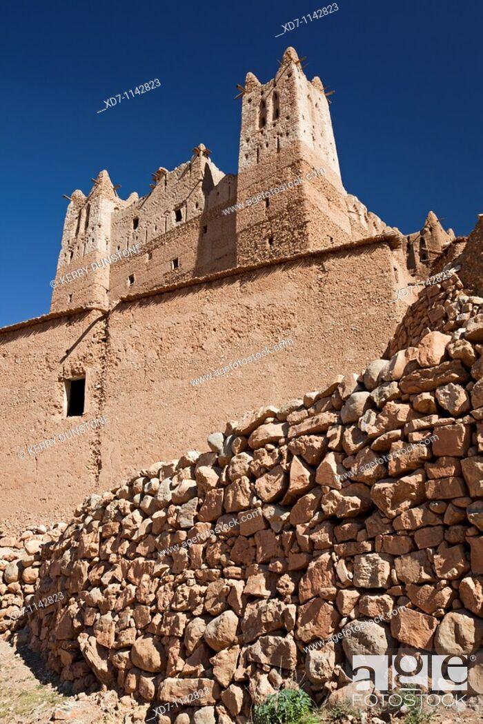 Stock Photo: Morocco Dades Valley Dades Gorge Kasbah Ait-Arbi.
