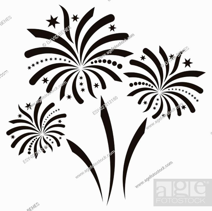 Stock Photo: Beautiful black vector firework isolated on white background.