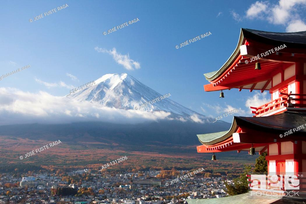 Stock Photo: Japan, Fujiyoshida City, Churieto Pagoda and Mount Fuji.