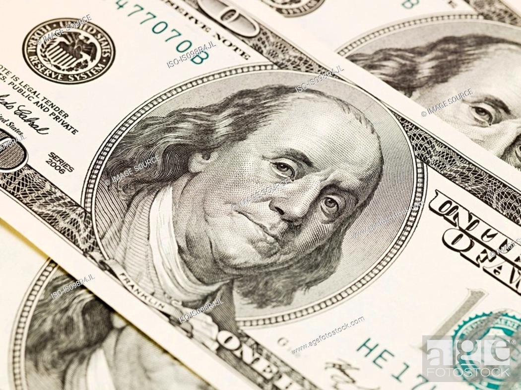 Stock Photo: One hundred dollar bills.
