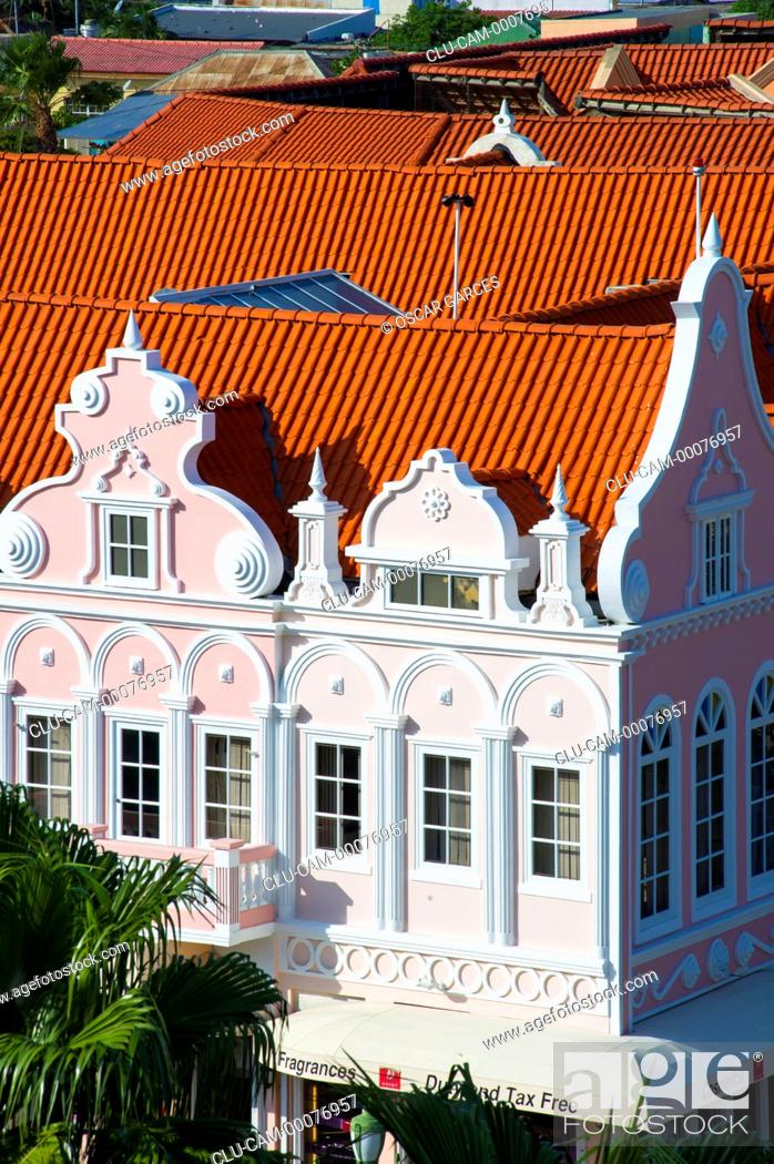Stock Photo: Dutch Architecture, Oranjestad, Aruba, Lesser Antilles, Central America.
