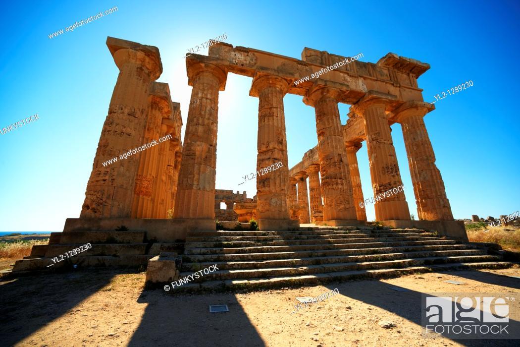 Stock Photo: Greek Dorik Temple ruins of Temple F at Selinunte, Sicily.