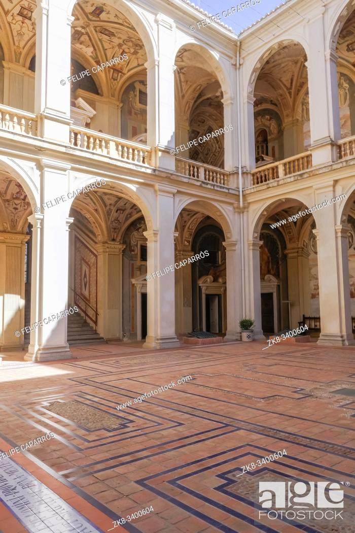 Stock Photo: Viso del Marques, SPAIN - September 28, 2019: Access to the courtyard of General Archive of the Navy in the palace of the Marquis of Santa Cruz is a building.