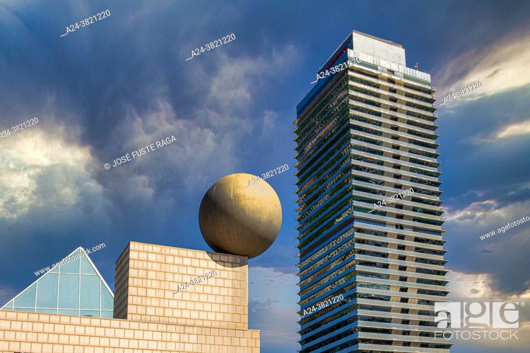 Stock Photo: Spain, Barcelona City, Torre Mafre, Olympic Harbour.