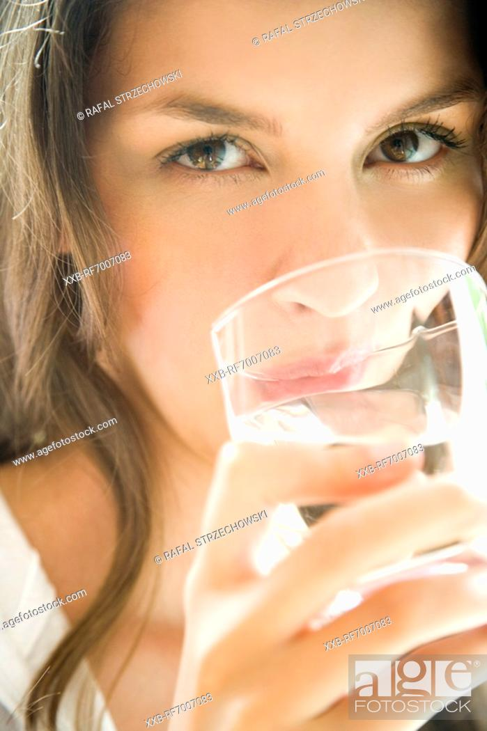 Stock Photo: Woman with glass.