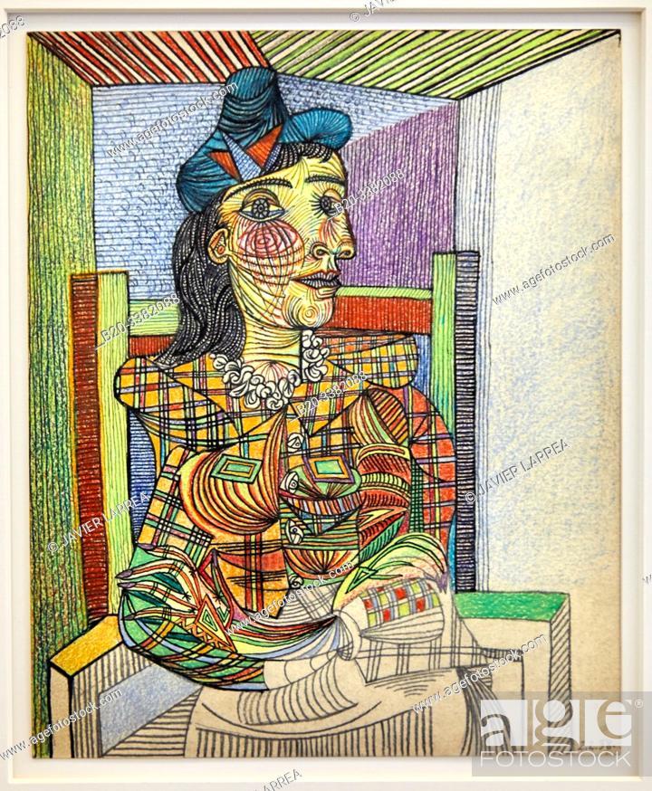 "Stock Photo: ""Dora Maar assise"", 1938, Pablo Picasso, Picasso Museum, Paris, France, Europe."