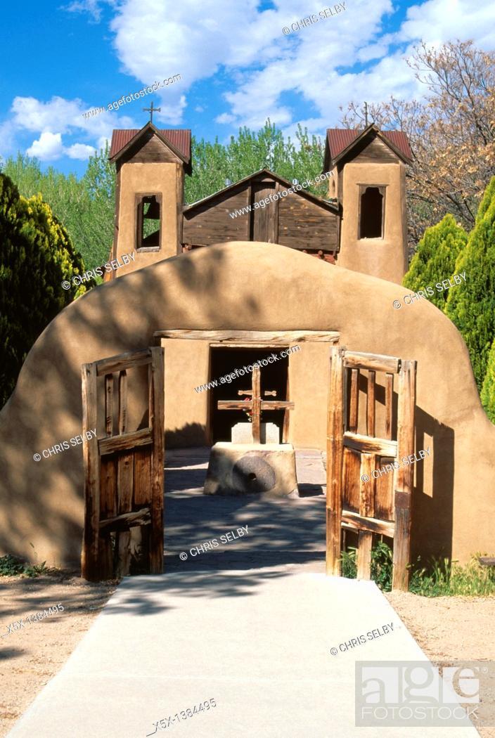 Stock Photo: Santuario Nuestro Senor de Esquipulas Church in Chimayo, New Mexico, USA.