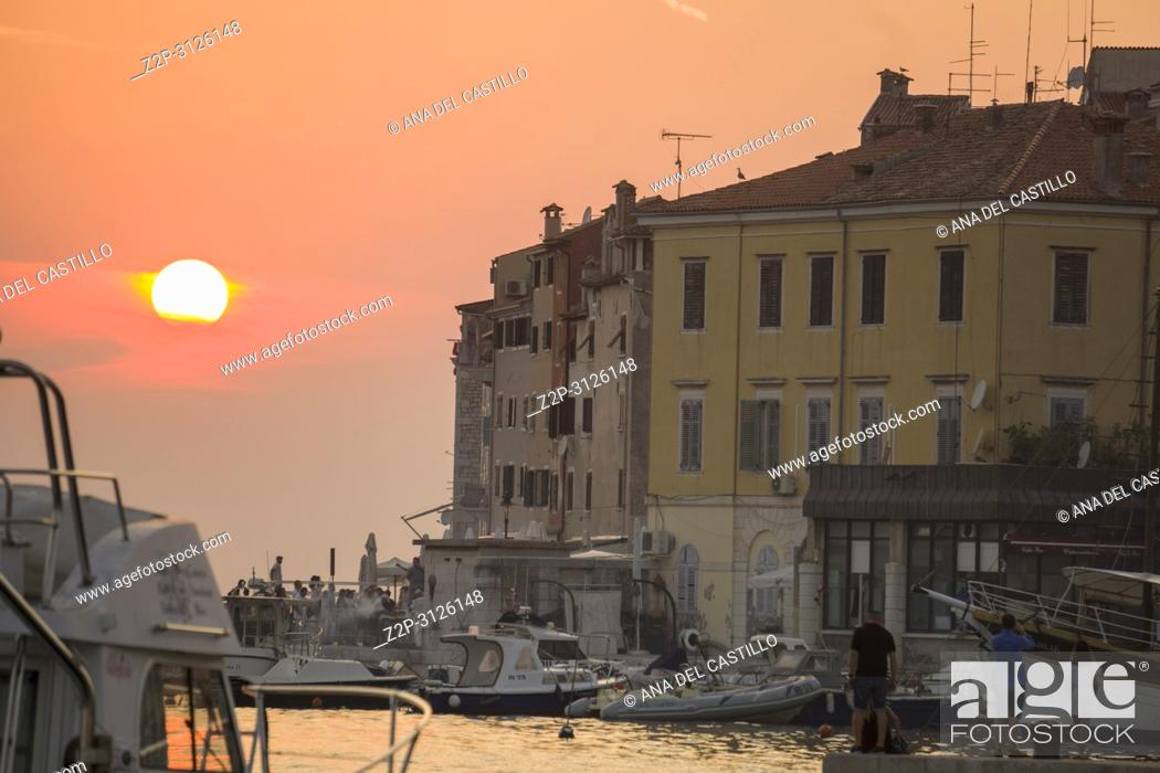 Stock Photo: ROVINJ CROATIA ON AUGUST 19, 2018: Sunset in Rovinj medieval city in Istria Croatia.