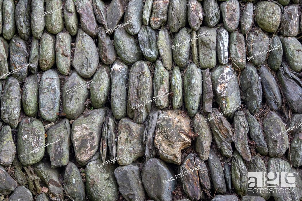 Stock Photo: Historic dry stone wall built in traditional Cornish style.
