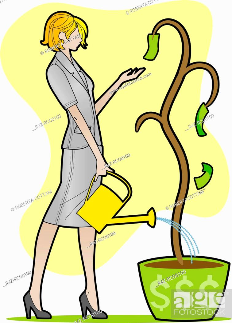 Stock Photo: A woman watering a plant with few dollar bills.