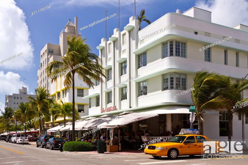 Stock Photo: Art Deco architecture along Ocean Drive in Miami Beach, Florida, USA.