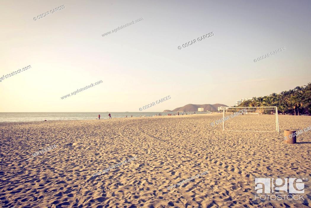 Stock Photo: Beach Beautiful Horizon, Santa Marta, Magdalena, Colombia.