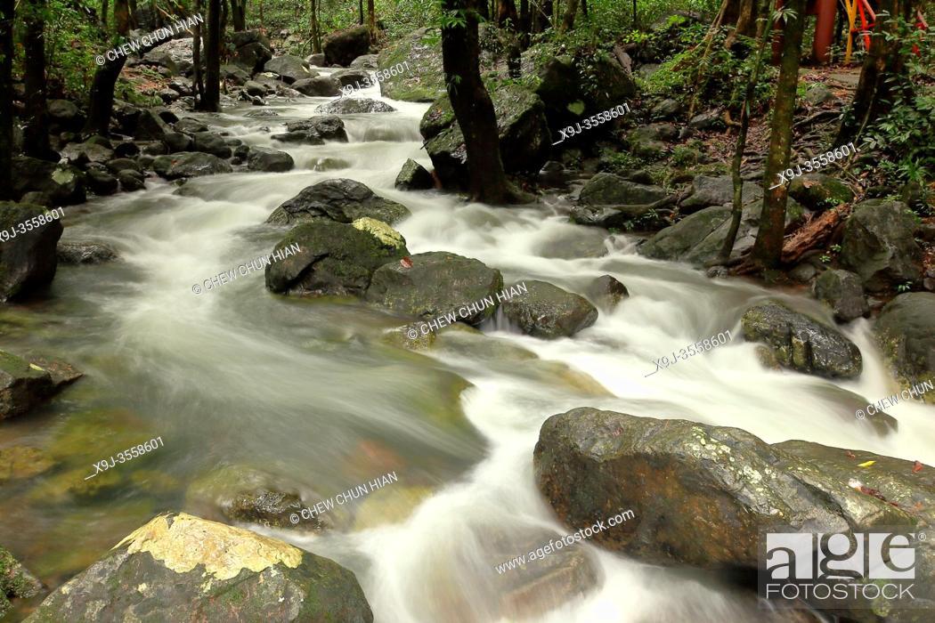 Stock Photo: Stream river at serian town, kuching, sarawak, malaysia, borneo.
