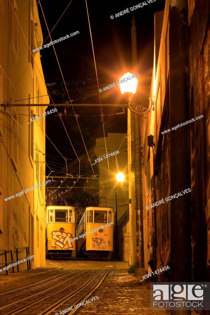 Stock Photo: Lavra Funicular, Lisbon, Portugal, Europe.