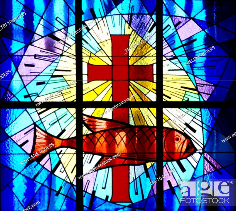 Dubai UAE St Marys Catholic Church Stained Glass Window Symbols Of