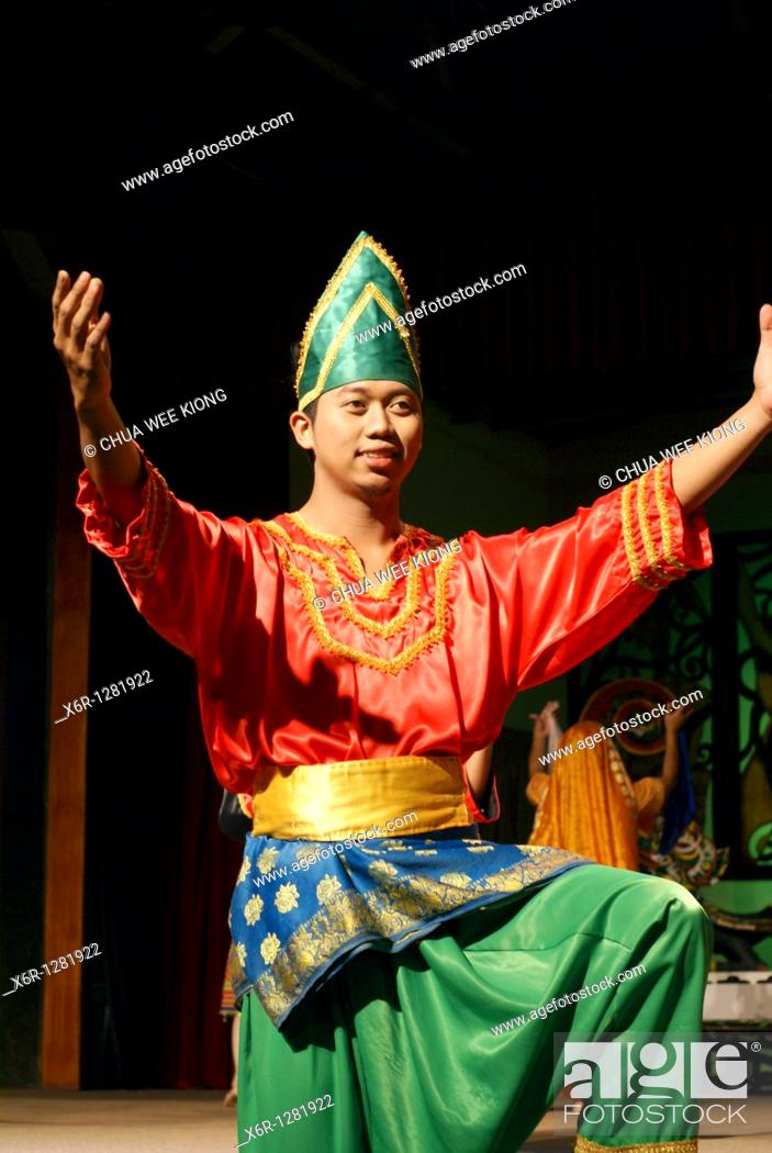 Stock Photo: Man during cultural show, Cultural Village, Malaysia.