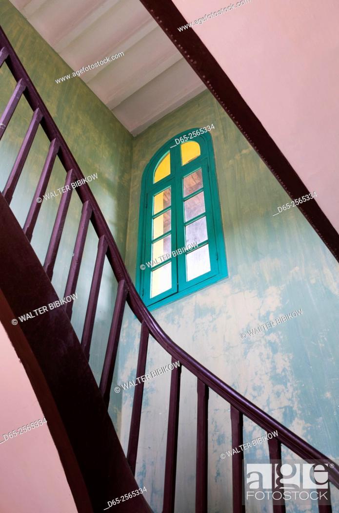 Stock Photo: Vietnam, Hanoi, Ho Chi Minh House, stairs.