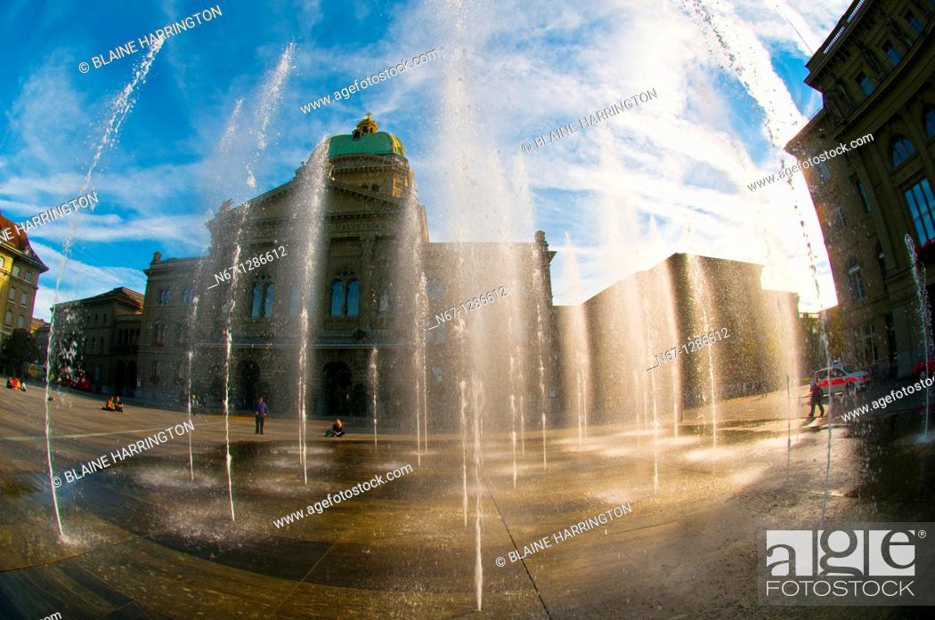 Stock Photo: Water fountains and Federal Palace of Switzerland in Bundesplatz, Bern, Canton Bern, Switzerland.