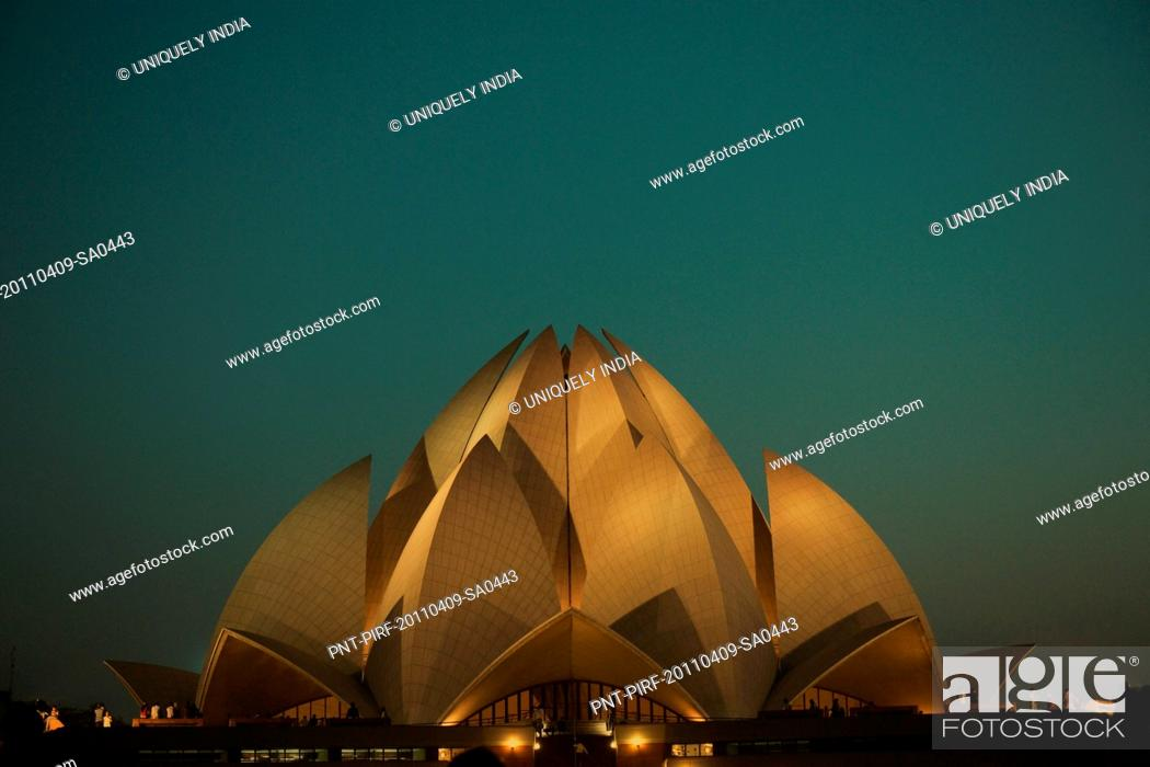 Stock Photo: Temple lit up at night, Lotus Temple, New Delhi, India.
