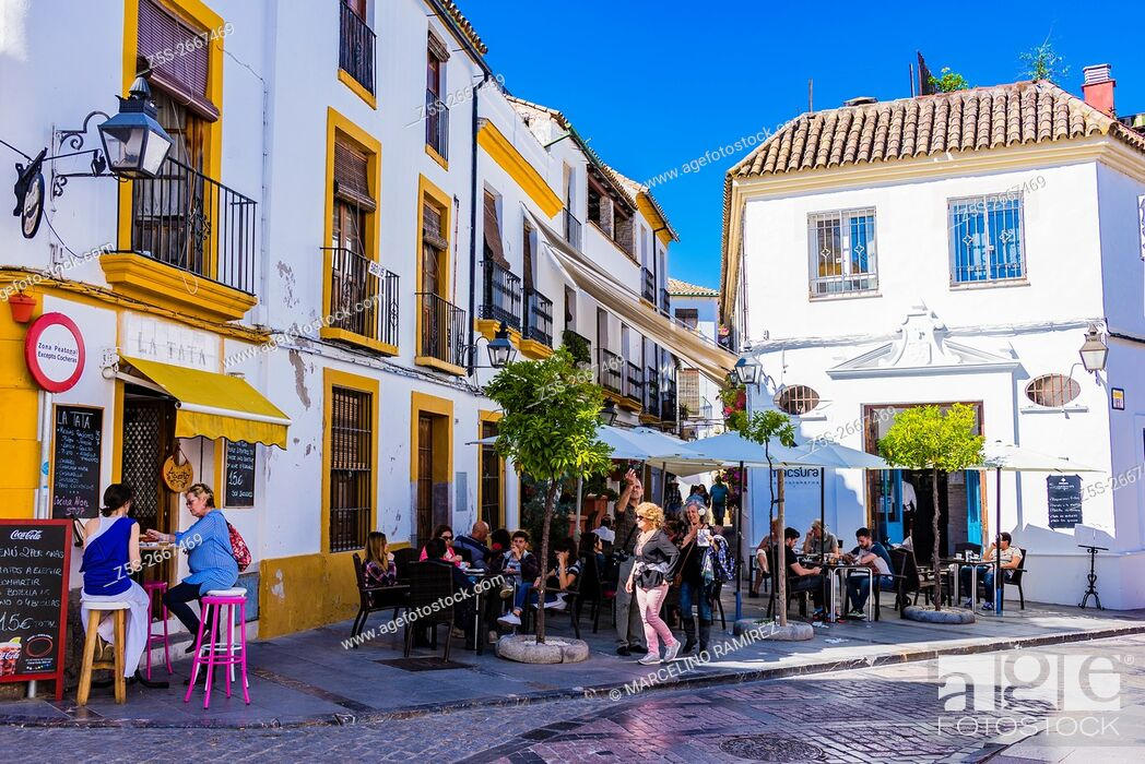 Stock Photo: Lively street in the historic center. Córdoba, Andalusia, Spain, Europe.