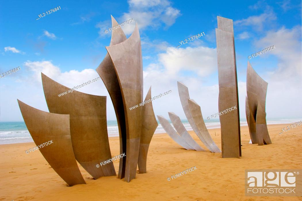 Stock Photo: 'the Brave Men' scupture in the sand at Omaha D Day landing beach, Normandy, France.