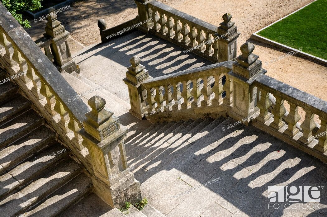Stock Photo: Stone steps with shadows, graphic construct.
